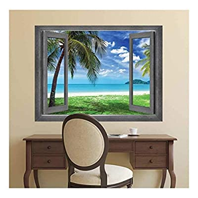 Charming Style, With Expert Quality, Open Window Creative Wall Decor Vacation View onto a Tropical Paradise Wall Mural