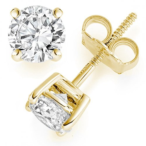 9/10 Carat Round Solitaire Diamond Earrings in 14K Yellow Gold in Screw Back Basket Mounting & 4 Prong Mounting ( 0.90 Carat J Color I1 Clarity ) 14k Yellow Gold Solitaire Mounting