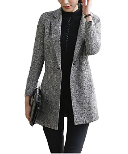 - Comfy-Women Blazer Plus-Size Mid-Long Notch Lapel Patch Suit Coat Grey 2XL