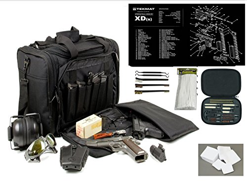 Explorer Rangemaster II - Large Black Padded Deluxe Tactical Range - Gear Bag - Springfield Armory XDs TekMat & 25 Pc Handgun Master Cleaning Kit with Patches by VAS First Response