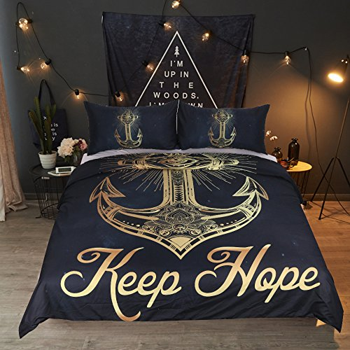 Sleepwish Gold Anchors Navy Blue Background Duvet Cover Set 3 Pieces Anchor Nautical Keep Hope Bedding With 2 Pillow Shams Queen From Youhao