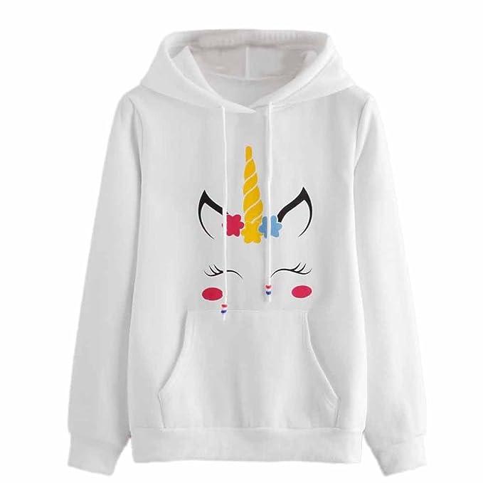 SHOBDW Mujeres Unicornio de impresión de Manga Larga Sudadera con Capucha  suéter Camiseta Tops  Amazon.es  Ropa y accesorios 028430a3c257