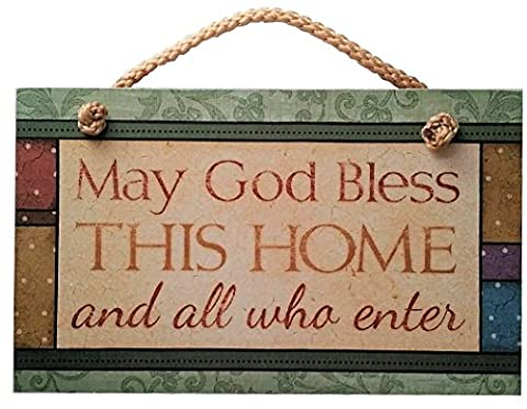 May God Bless This Home Sign Inspirational Plaque (New House Plaque)
