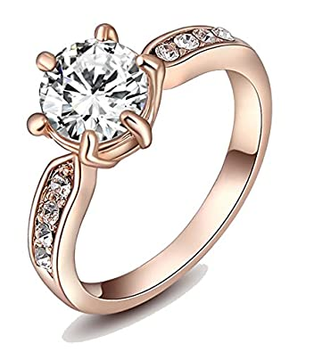 Buy Kaizer Jewelry 18K Rose Gold Plated Ring For Women Online at Low