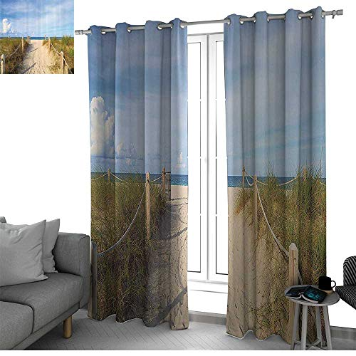 (bybyhome Seaside Decor Collection Blackout Curtains Panels for Bedroom Golden Sandy Beach in South Miami with Fences American Style Holiday Login Relax Image Curtain Panels Cream Blue W96 x L108 Inch)