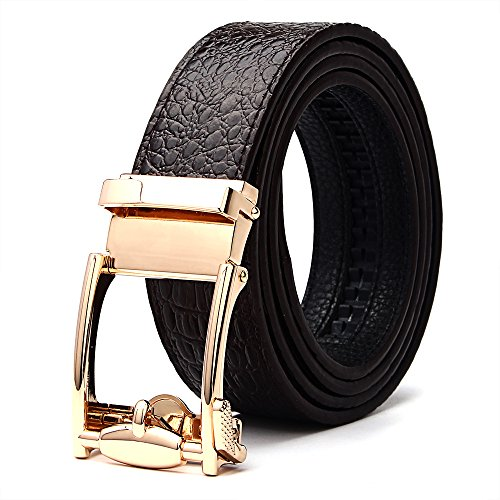 [XIANGUO Leather Belts Men's Crocodile Belt Brown] (Brown Crocodile Belt)