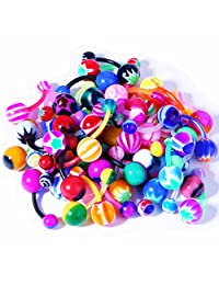 BodyJ4You Assorted Lot of 50/100 Banana Piercing 14G Belly Button Rings Piercing Jewelry