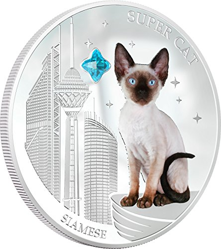 (2013 Fiji - Dogs & Cats - Release 4 - Super Cat - Siamese - 1oz - Silver Coin - $2 Uncirculated)