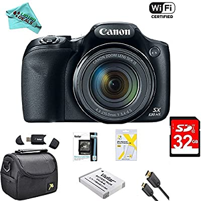 Canon Powershot SX530 HS 16MP Wi-Fi Super-Zoom Digital Camera 50x Optical Zoom Ultimate Bundle Deluxe Camera Bag, 32GB Memory Cards, Extra Battery, Tripod, Card Reader, HDMI Cable, LD Cloth & More by Liquid Deals