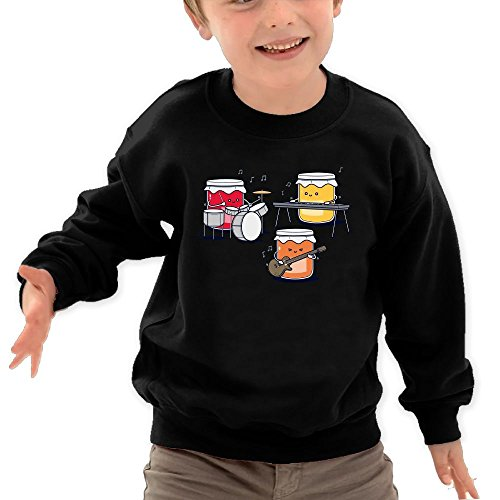 Price comparison product image Puppylol Sushi Band Kids Classic Crew-neck Pullover Hoodie Black 5-6 Toddler