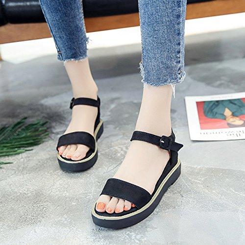 RUGAI-UE Sandalias de Verano Mujer zapatos planos zapatos con suela antideslizante simple Black
