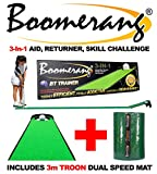 Boomerang Golf Putting Trainer + Skill Challenge + Ball Returner + Putting Aid with 10ft Putting Mat