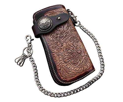 Dragon Skull Motorcylce Biker Cow Leather Card Holder Handmade Wallet With Chain L66 (Cow Leather Mens Wallets)