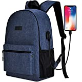 Sunny Snowy School Backpack for Women Men,Travel Laptop Backpack up to 15.6 inch with USB/Headphone Port (Blue)