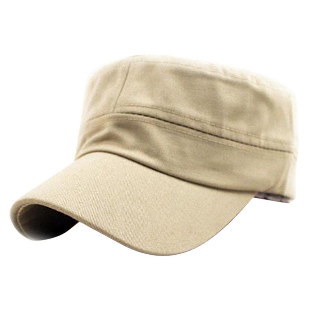 SFE Classic Plain Vintage Army Military Cadet Style Cotton Cap Hat Adjustable Beige