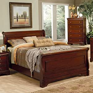4pc queen size sleigh bedroom set louis - Queen size bedroom furniture sets ...