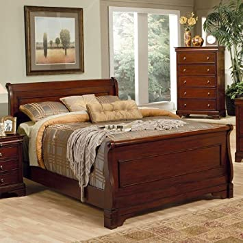 Amazon.com: 4pc Queen Size Sleigh Bedroom Set Louis Philippe Style ...