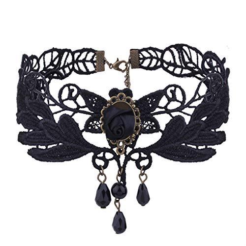 - Countonme Women Halloween Elegant Vintage Princess Black Lace Gothic Necklace Bracelet Victorian Lolita Choker Pendant Vampire Chain