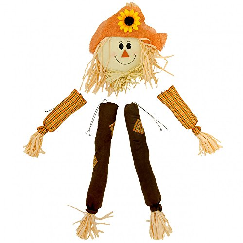 Plush Raffia Scarecrow Wreath Kit Orange, Beige, Brown (5 Pieces) Fall & Halloween Head 12