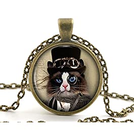Steampunk Black and White Cat Necklace Pendant, Vintage Bronze Animal Jewellery for Women