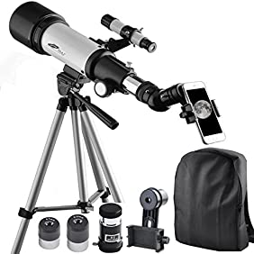 Gosky 70mm AZ Astronomy Telescope 70400 - Refractor Travel Scope for Beginners and Kids - With Tripod and 10mm Eyepiece Smartphone Adapter - Get the World Into Screen