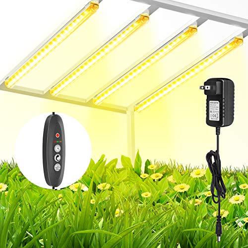 TOPLANET Lampada per Piante, Lampada LED Coltivazione a Tubo 40W T5 LED Full Spectrum 3500K, 4 Livelli di Luminosità LED Grow Light con Auto Timer 3/6/12H, Lampade LED Piante Indoor