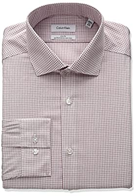 Calvin Klein Men's Non Iron Slim Fit Check Spread Collar Dress Shirt