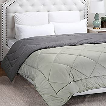 "Twin Reversible Comforter Duvet Insert with Corner Ties-Quilted Down Alternative Comforter Diamond Stitching Design Smoky Grey/Light Grey 66""x88"" by Bedsure"