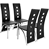 Benlet 4 Pcs Modern Kitchen Chairs Set of 4, High Back PVC Dinning Chairs Home Dinette Furniture