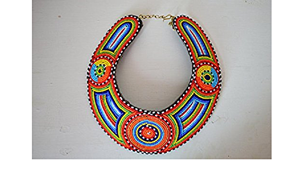 Bib necklace Braided natural leather Hippy Ethnic jewelry African Gypsy leather necklace orange and green beads Beach Summer
