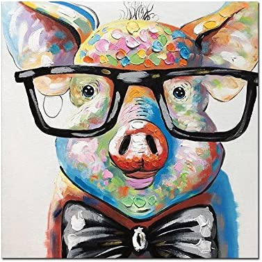 V-inspire Art,32×32 Inch Colorful Animal Painting Cute Pig with Glasses Paintings for Living Room Hand Painted Paintings Stretched Ready to Hang