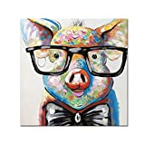 V-inspire Art,32x32 Inch Colorful Animal Painting Cute Pig with Glasses Paintings for Living Room Hand Painted Paintings Stretched Ready to Hang