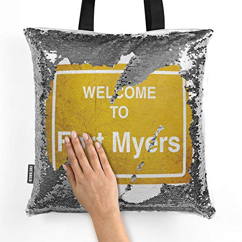 NEONBLOND Mermaid Tote Handbag Yellow Road Sign Welcome To Fort Myers Reversible Sequin