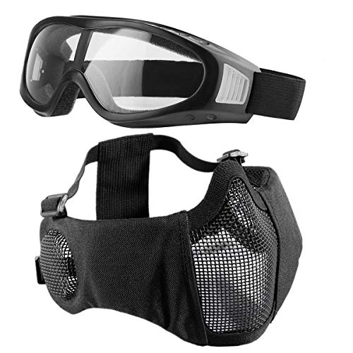 Showkoo Airsoft mask, Mesh Half Face Skull Set with Goggles, Upgrade Ear & Eye Protection 4 Colours [Airsoft Rated] (Black B)