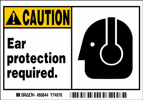 Legend Ear Protection - Brady 86844,  Equipment/Oem Labels, 3 1/2