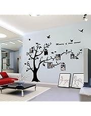 WallStickersDecal®, PVC, reusachtig zwart, fotolijst, opslag, boom, vintakken, afneembare muurtattoo, sticker, 200 cm (h) (dicht)