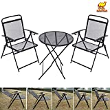 Cheap STRONG CAMEL Bistro set Patio Set Table and Chairs Outdoor Wrought Iron CAFE set METAL-Black