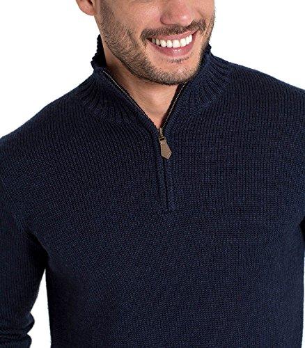 WoolOvers Country-Pullover mit Reiverschluss am Ausschnitt aus reiner Wolle für Herren Navy, L