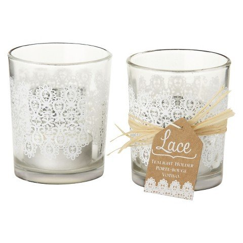 "Kate Aspen ""lace"" Glass Tealight Holder- Set of 12"