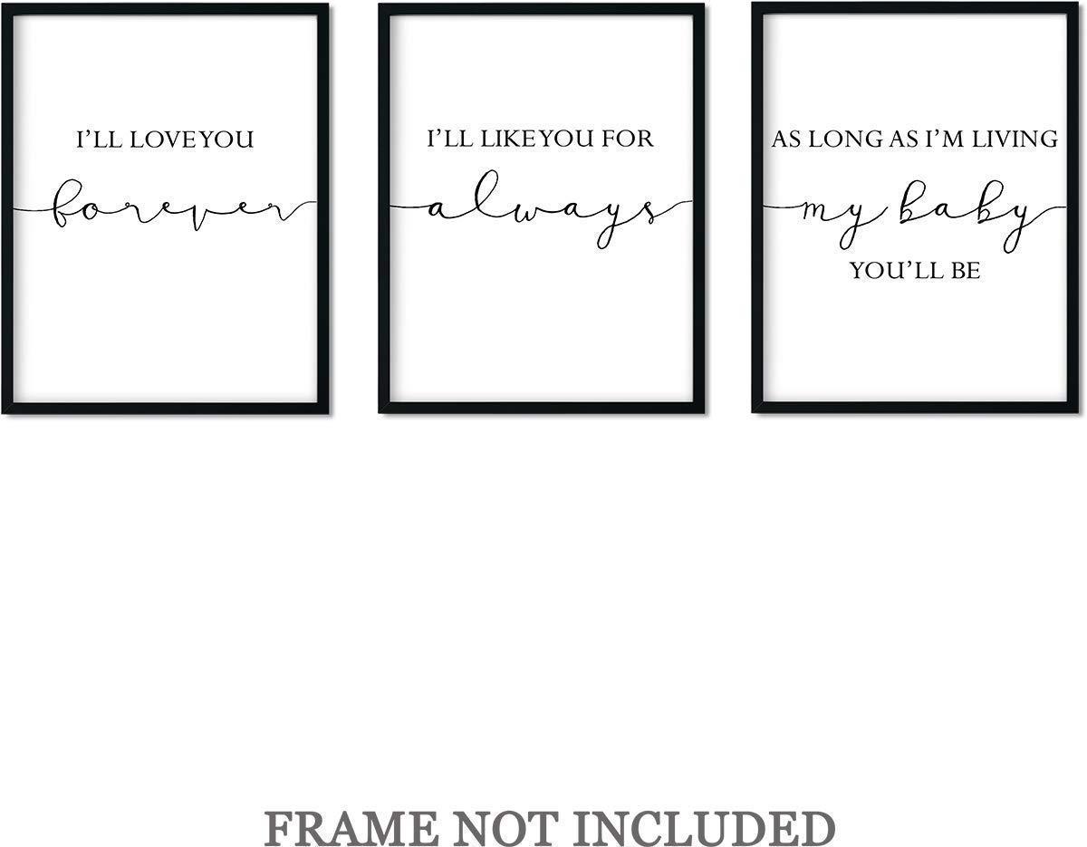 I'll Love You Forever Wall Art Decor Print - Set of 3-11x14 unframed prints