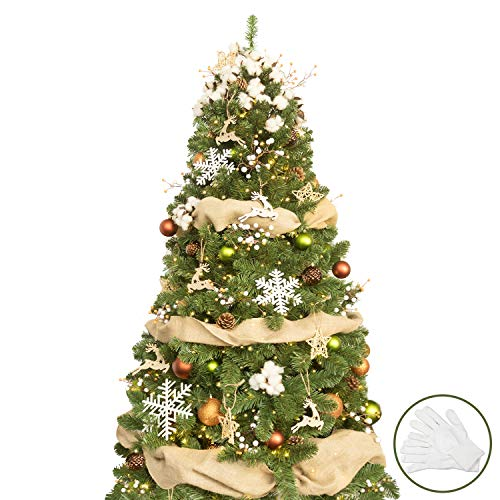 KI Store 6ft Artificial Christmas Tree with Ornaments and Lights Woodland Christmas Decorations Including 6 Feet Full Tree, 120pcs Ornaments, 2 pcs 39ft USB Mini LED String Lights