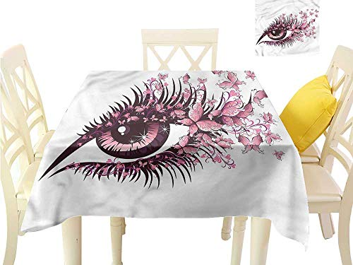 WilliamsDecor Non Slip Tablecloth Butterflies,Fairy Woman Eyelashes Printed Tablecloth W 50