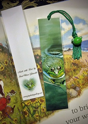 Frog Charm Enamel - Cute Pond Frog Amphibian Critter Bookmark w/ Choice of Frog Bell or Enamel Frog Charm Fine Art Photography Photo Laminated Handmade Bookmark