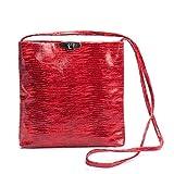 Kisim Timeless Women Jill Soft Leather Evening Handbag, Onesize - 9.8''x9.8''x1.2'' (Red)