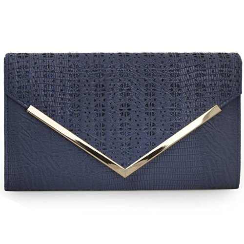 BMC Womens Navy Blue PU Leather Alligator Skin Pattern Perforated Glitter Metal Accent Envelope Flap Clutch Handbag