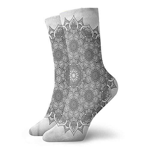 1 Pair Women Short Socks Mandala,Mandala Ottoman Floral 3.4