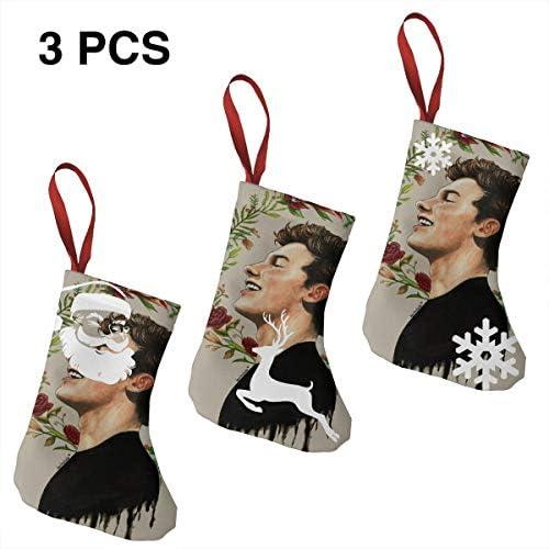 クリスマスの日の靴下 (ソックス3個)クリスマスデコレーションソックス アイドルミュージックShawn Mendes クリスマス、ハロウィン 家庭用、ショッピングモール用、お祝いの雰囲気を加える 人気を高める、販売、プロモーション、年次式