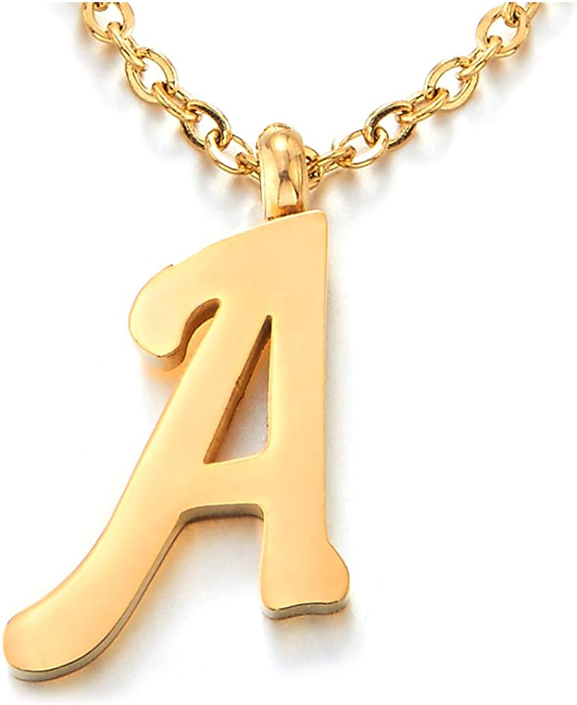 COOLSTEELANDBEYOND Womens Mens Steel Name Initial Alphabet Letter 26 A to Z Pendant Necklace, Gold Color