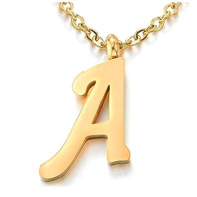 Name Initiale Alphabet Buchstaben A Anhänger Edelstah Halskette für ...