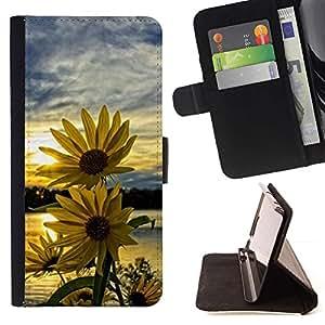 Momo Phone Case / Flip Funda de Cuero Case Cover - Equinácea Sunset cielo amarillo - Samsung Galaxy J3 GSM-J300